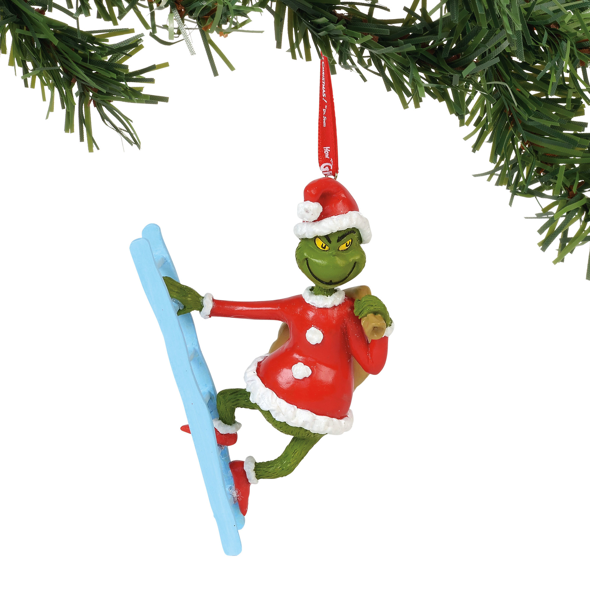 Universal Department 56 Ornament - Grinch - Grinch on a Ladder