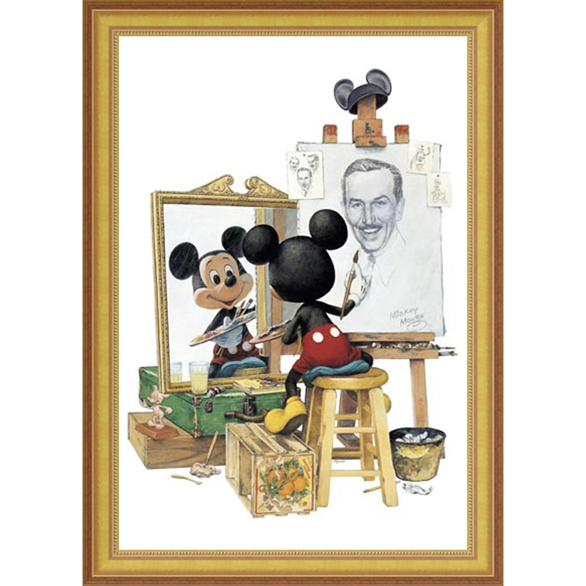 Disney Giclee Framed Canvas - Charles Boyer - Triple Self Portrait
