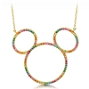 Disney Crislu Necklace - Rainbow Mickey Icon Outline