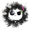 Disney Holiday Wreath - Jack Skellington Face - Black and White