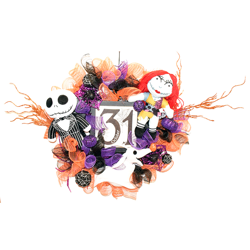 Disney Holiday Wreath - Jack and Sally - Date