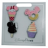 Disney 4-Pin Set - Disney Parks Snacks: Mickey Ice cream Bar, Cone, Doughnut, & Swirl