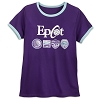 Disney Women's Shirt - Epcot Logos - Purple Ringer