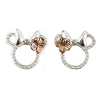 Disney Rebecca Hook Earrings - Minnie Icon Studs - Silver Bow Rose Gold Flower