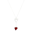 Disney Necklace - Mickey Icon with Drop Heart Pendant - Red