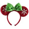 Disney Headband Hat - Holiday 2018 - Minnie Mouse Red Ears Green Bow