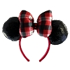 Disney Headband Hat - Holiday 2018 - Plaid Bow Black Sequin Ears