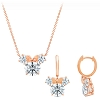 Disney Crislu Necklace and Earring Set - Minnie Mouse - Rose Gold