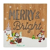Disney Wooden Sign - Santa Mickey and Friends - Merry & Bright