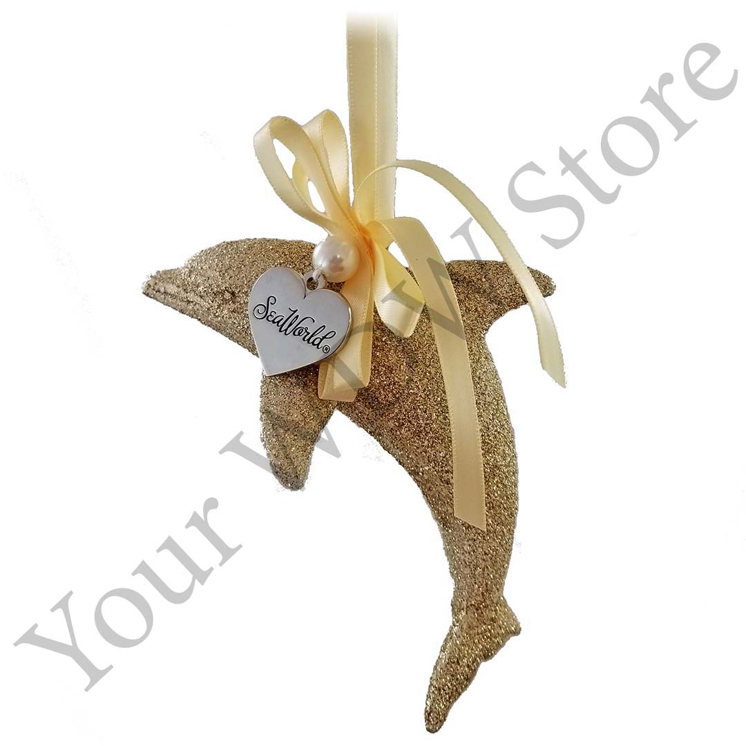 SeaWorld Ornament - Gold Glitter Dolphin