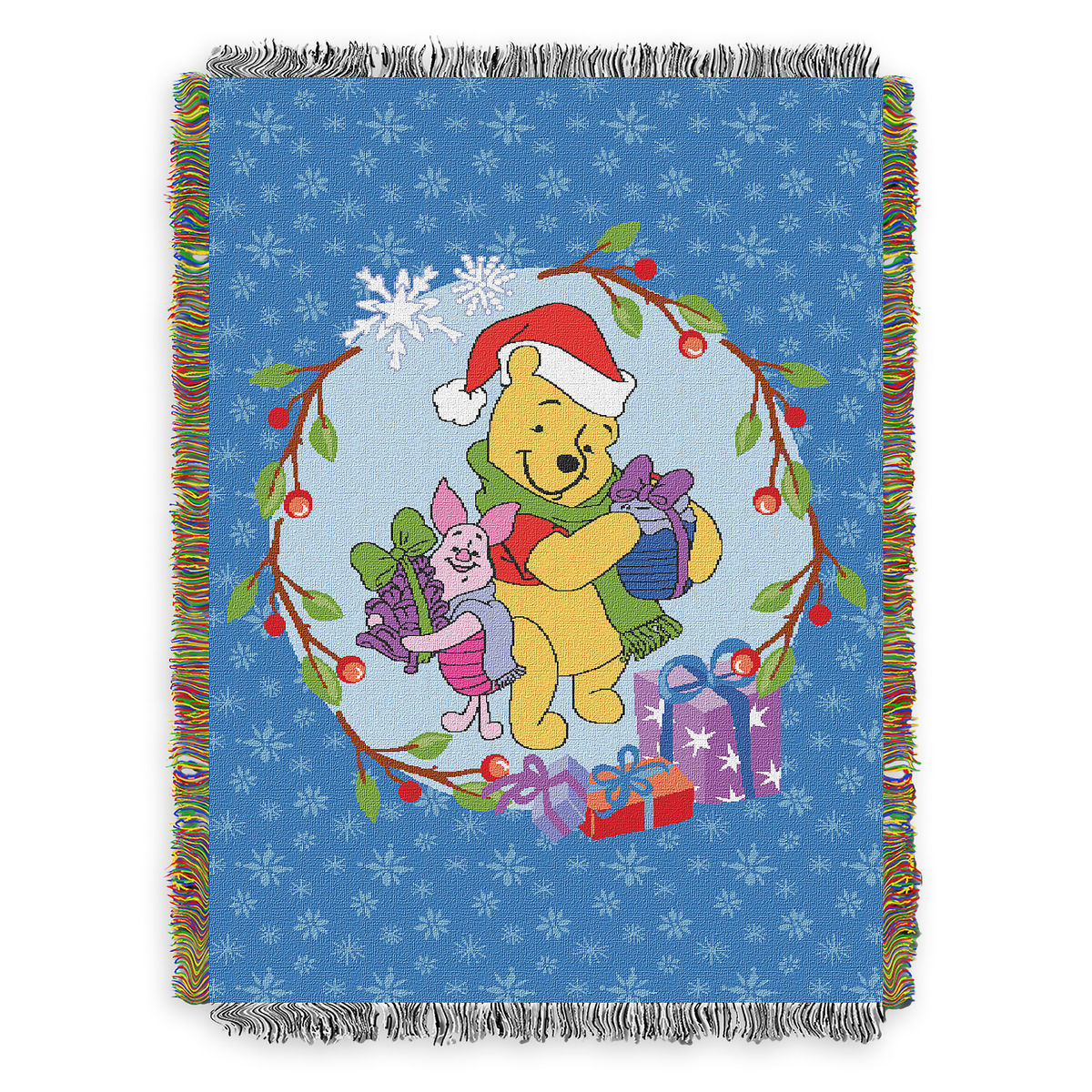Disney Woven Tapestry Throw Blanket - Santa Winnie the Pooh with Piglet