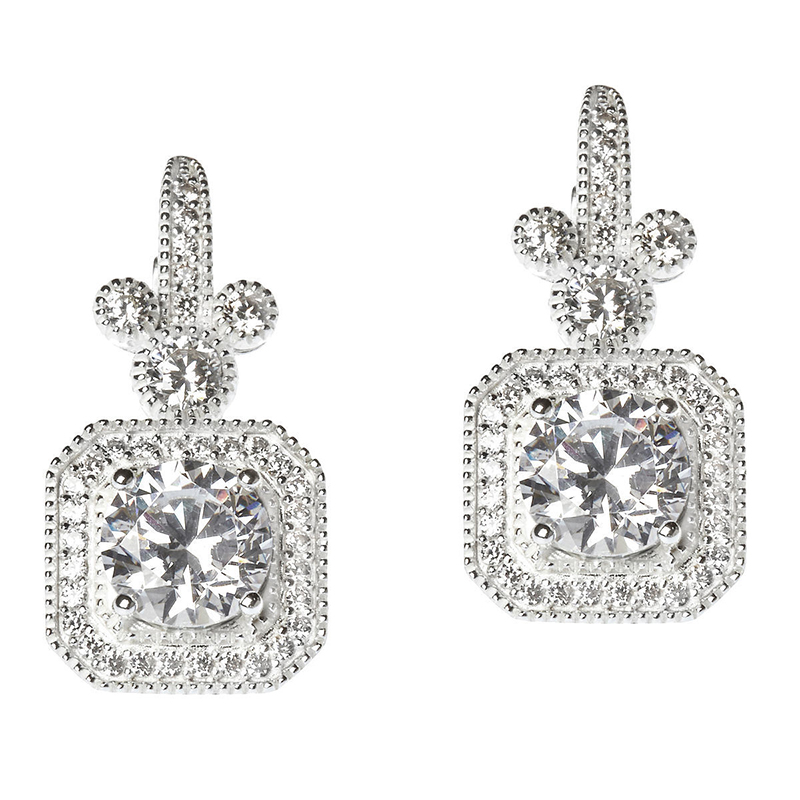 99a587916 Disney Rebecca Hook Earrings - Mickey Mouse - Square Pave