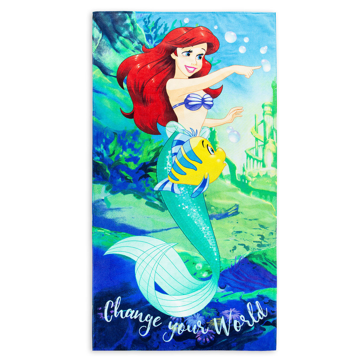 Disney Beach Towel - Ariel and Flounder - Change Your World
