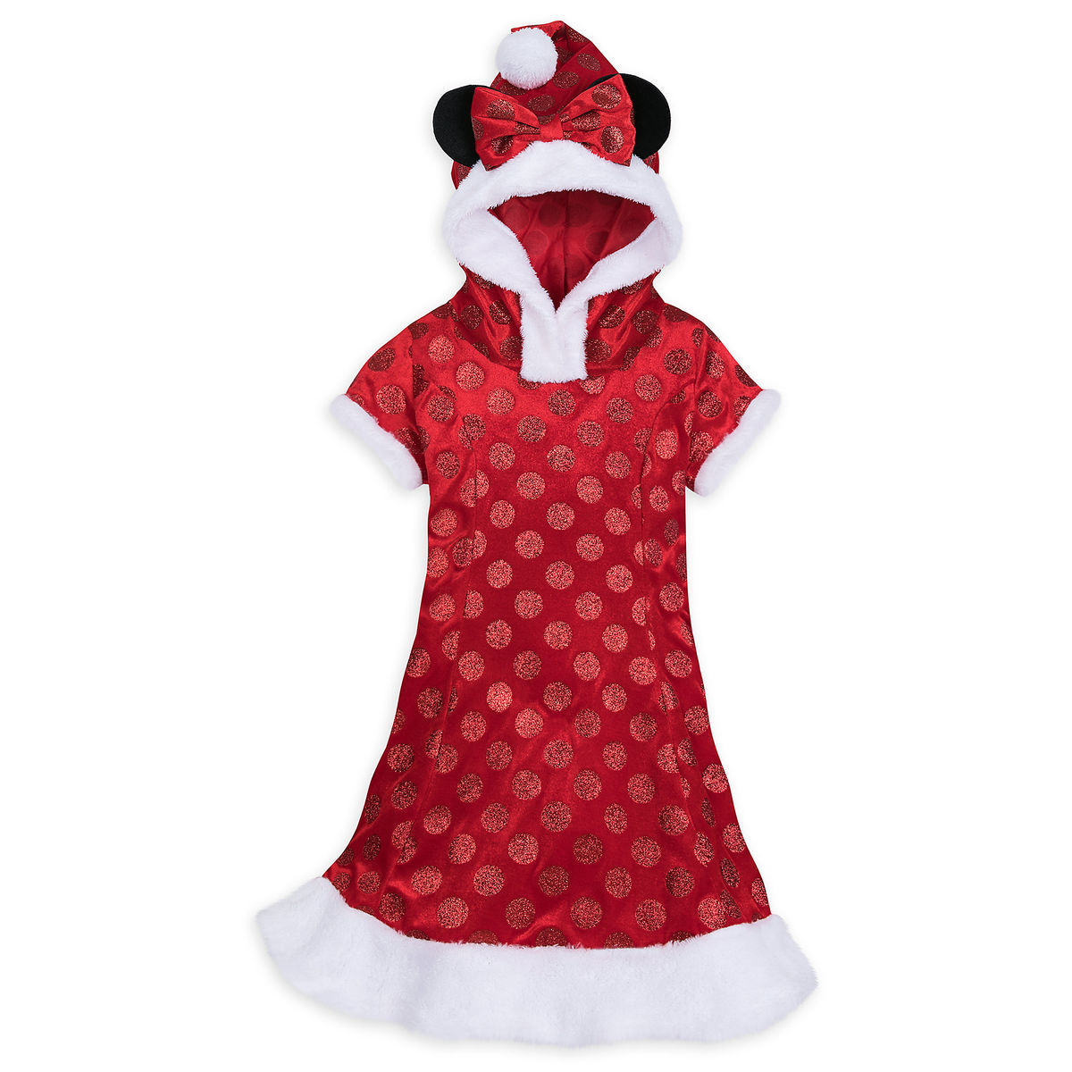 Disney Girl's Dress - Minnie Mouse Holiday Costume Dress with Hood