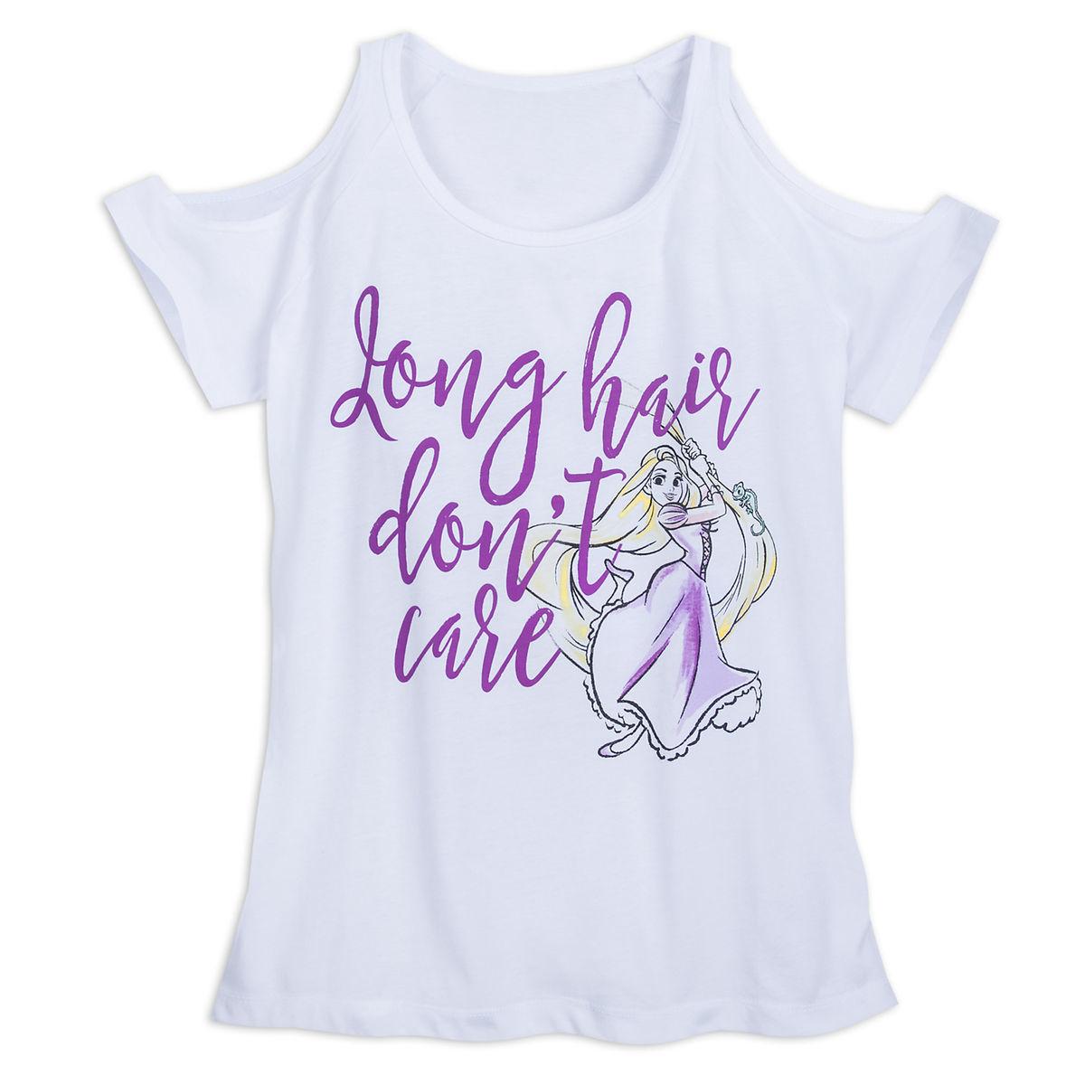 52ebb41a Disney Women's Shirt - Rapunzel Cold Shoulder T-Shirt - Long Hair ...
