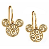 Disney Earrings - Mickey Mouse Filigree Icons - Gold