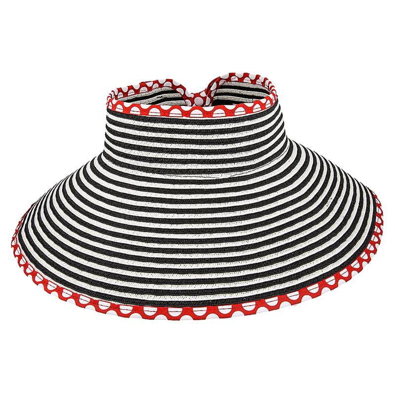 9bbc7ae3cdd Disney World Sun Visor Hat - Roll-Up - Minnie Dot Striped