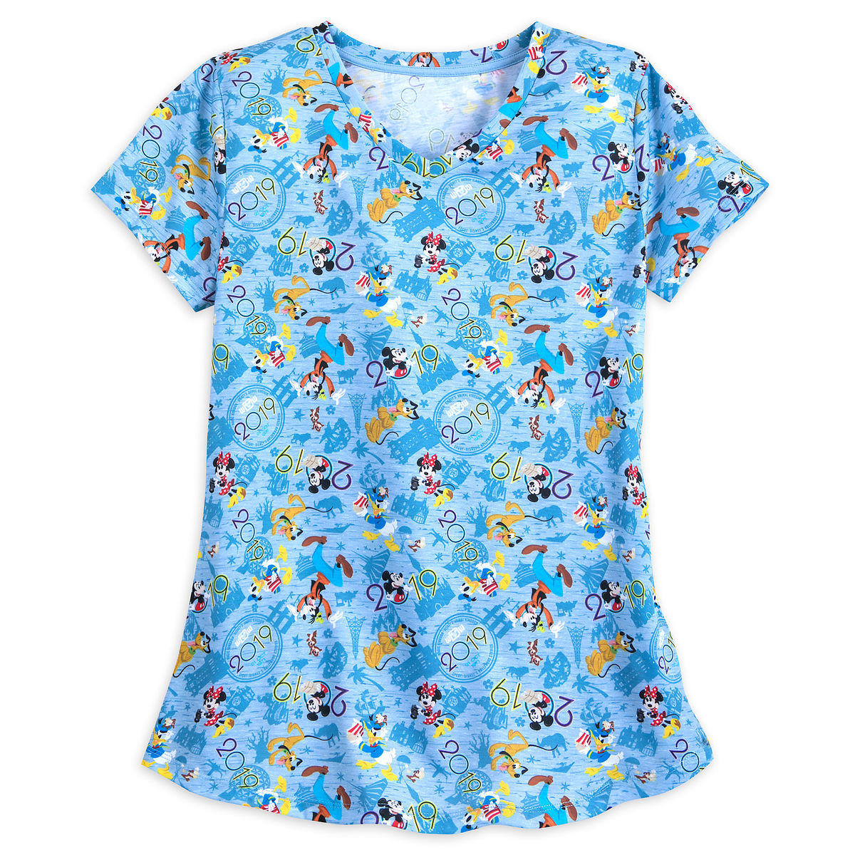 Disney Women's Shirt - 2019 Mickey and Friends V-Neck