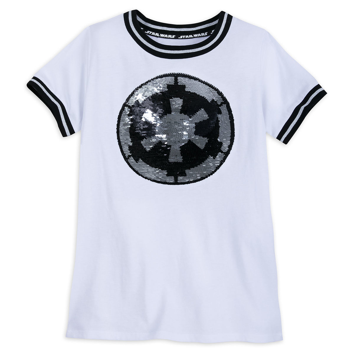 Disney Women's Shirt - Star Wars Reversible Sequin Rebel Galactic Symbol