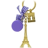 Disney Keychain Keyring - EPCOT World Showcase - France - Eiffel Tower - Purple
