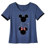 Disney Women's Shirt - Sequin Mickey and Minnie Icon - Love