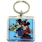 Disney Acrylic Keychain - Mickey and Minnie Flowers - Square