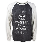 Disney Men's Shirt - Mickey Started By A Mouse Raglan