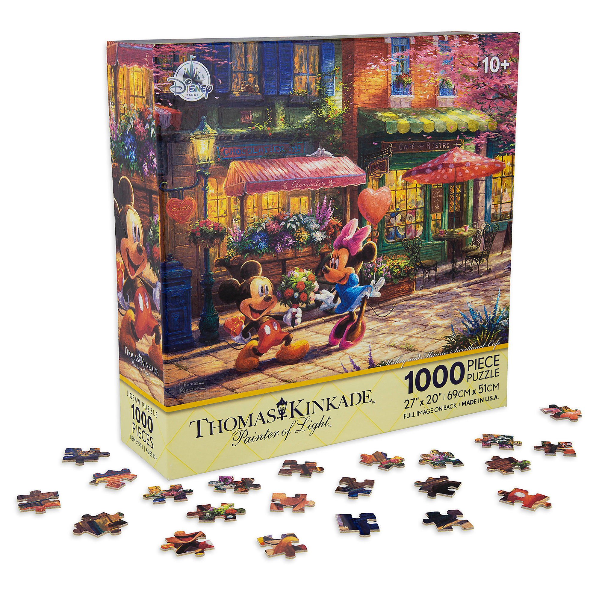 Thomas Kincaid Christmas Puzzle 2020 Disney Thomas Kinkade Puzzle   Mickey and Minnie Sweetheart Cafe