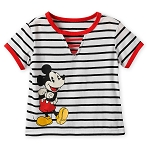 Disney Girl's Shirt - Mickey Mouse Striped Ringer Top