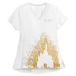 Disney Women's Shirt - Cinderella Castle - Gold Glitter