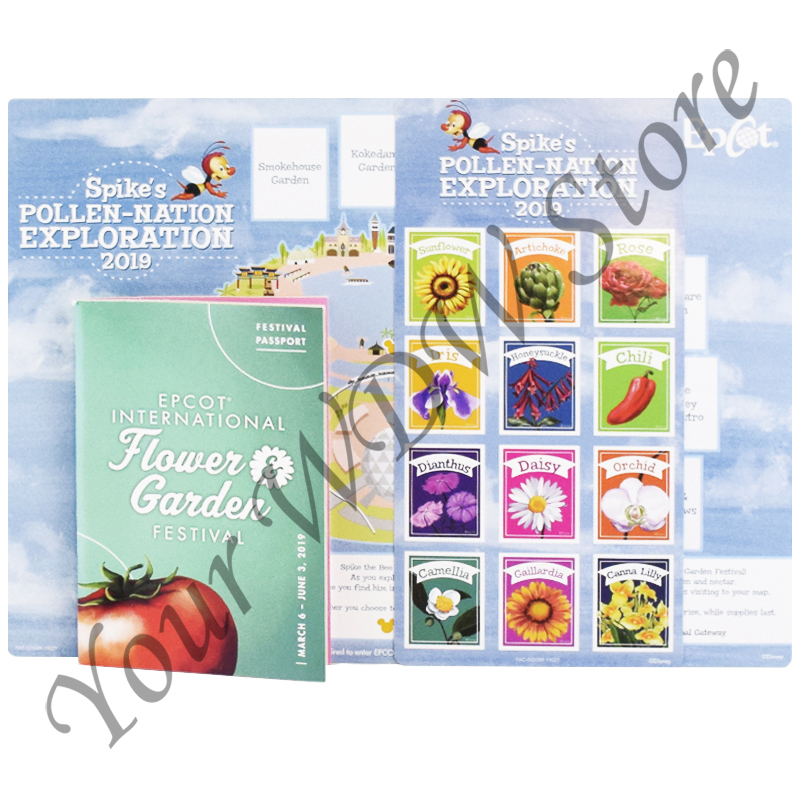 Disney Map, Booklet and Stickers Set - Epcot Flower and Garden Festival 2019