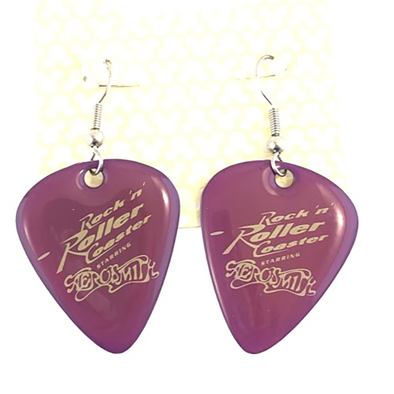 Disney Earrings - Rock 'n' Roller Coaster Guitar Pick - Plum