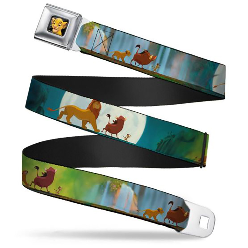 Disney Designer Seatbelt Belt - Lion King - Simba, Timon, Pumbaa