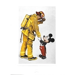 Disney Postcard - Mickey and the Fireman by Charles Boyer