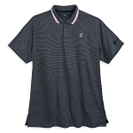 Disney Men's Shirt - Mickey Mouse Striped Performance Polo - Black