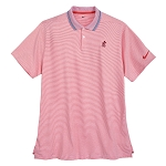 Disney Men's Shirt - Mickey Mouse Striped Performance Polo - Orange