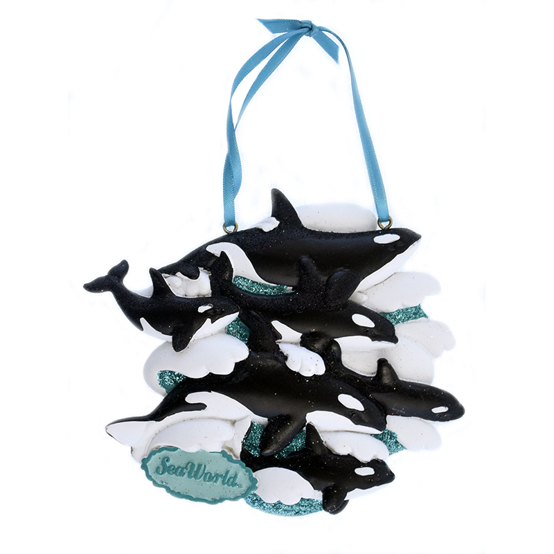 SeaWorld Ornament - Orca on Waves - Four