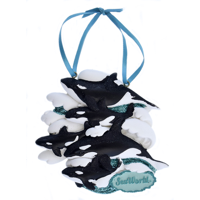 SeaWorld Ornament - Orca on Waves - Five
