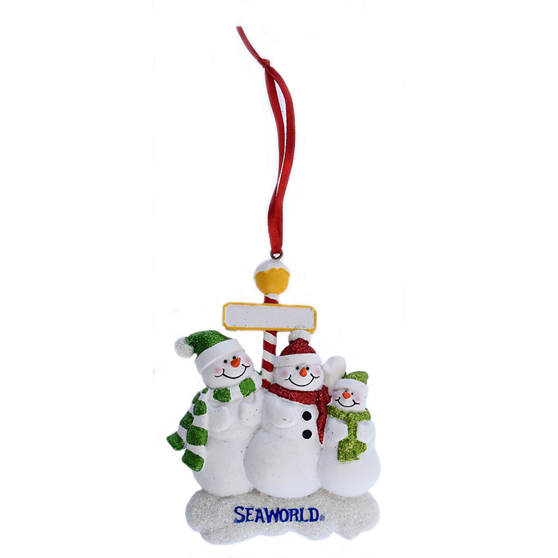 SeaWorld Ornament - Snowman with Glitter - Three