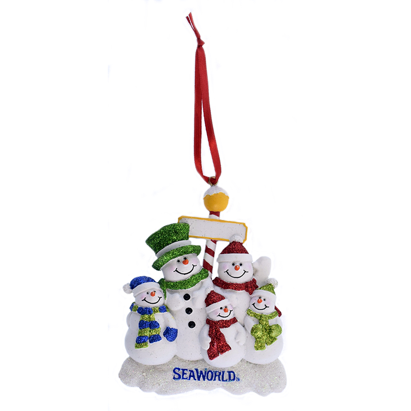 SeaWorld Ornament - Snowman with Glitter - Five