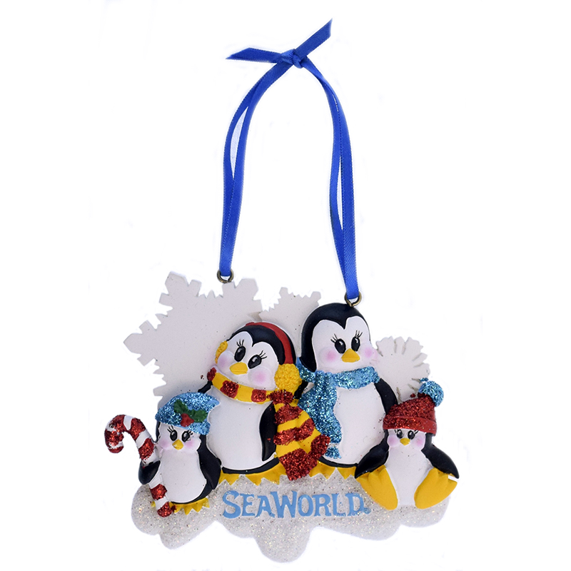 SeaWorld Ornament - Penguin with Glitter - Four