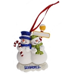 SeaWorld Ornament - Snowman with Glitter - Two