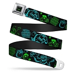 Disney Designer Seatbelt Belt - Monsters Inc. - Sulley and Mike - Neon Poses