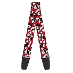 Disney Designer Guitar Strap - Classic Mickey Mouse Poses - Red/Black/White
