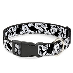 Disney Designer Breakaway Pet Collar - Mickey Mouse Expressions - Stacked - B&W
