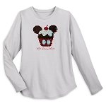 Disney Women's Shirt - Mickey Mouse Reversible Sequin Cupcake T-Shirt