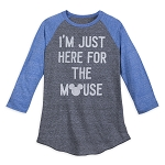 Disney Men's Shirt - Just Here For The Mouse - Raglan Baseball T-Shirt