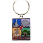 Disney Keychain - Four Parks Icons - Stained Glass