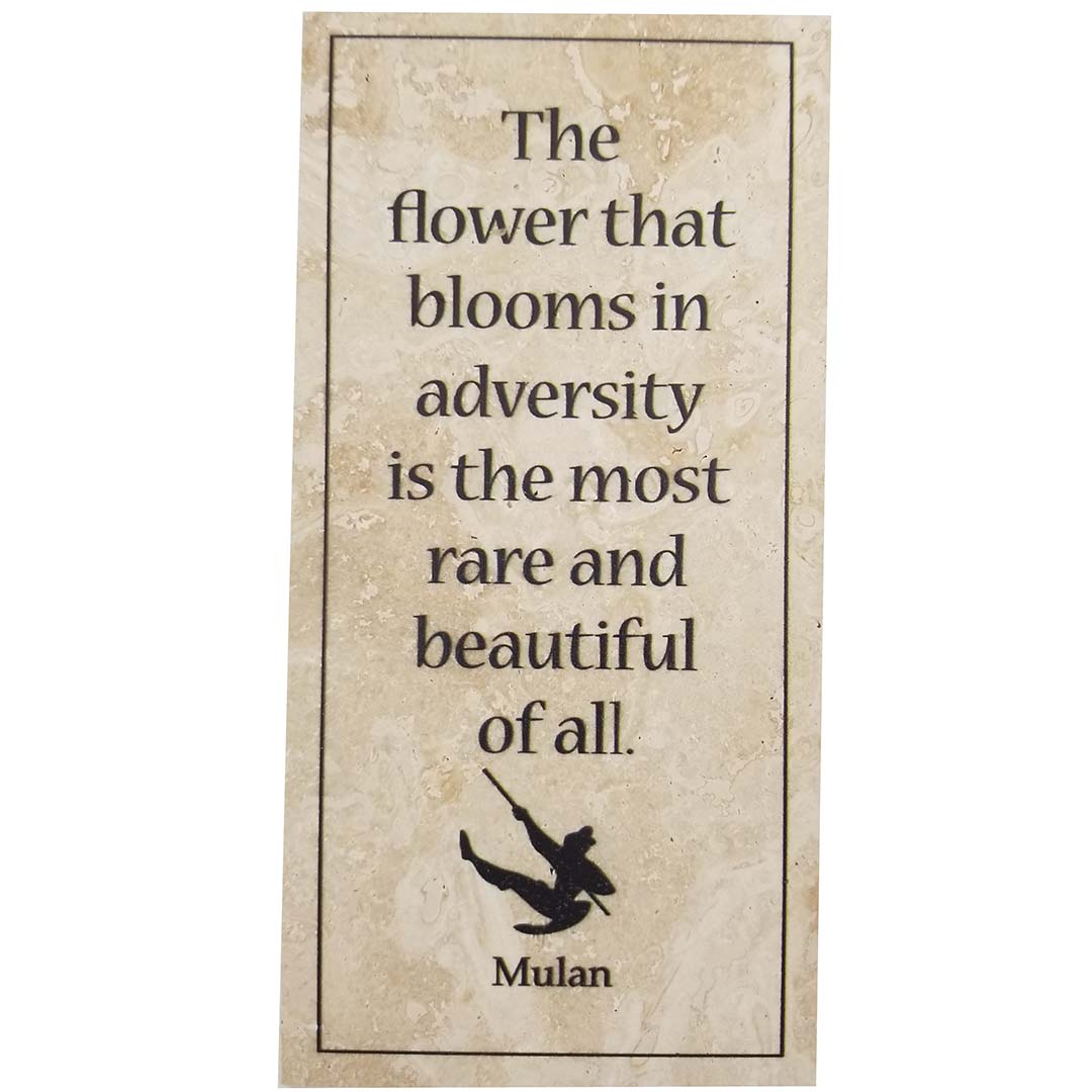 disney art mulan quote tile display stand