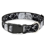 Disney Designer Breakaway Pet Collar - Jack Skellington & Oogie Boogie - Monochrome Moon Scene